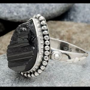 Black Tourmaline 925 Sterling Silver Ring